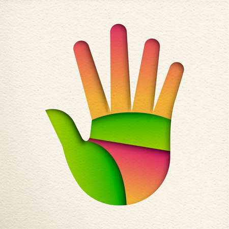 Human hand with open fingers in green color, paper cutout design. Nature help concept or environment conservation illustration. vector.  イラスト・ベクター素材