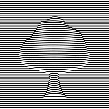 Ilustración de ilusión óptica de forma de árbol en blanco y negro. Diseño abstracto de efecto de volumen 3d. vector.