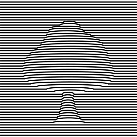 Tree shape optic illusion illustration in black and white. 3d volume effect abstract design. vector.