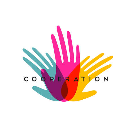 Colorful human hands together for cooperation concept. Social work illustration or community help.  vector.