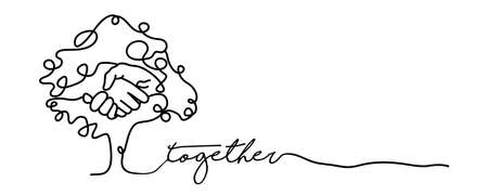 Togetherness concept web banner with continuous line illustration of hand inside a tree. vector.