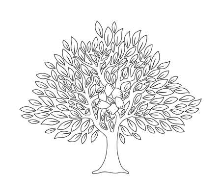 Tree with human hands together in outline style. Community team concept illustration for culture diversity, nature care or teamwork project. vector.