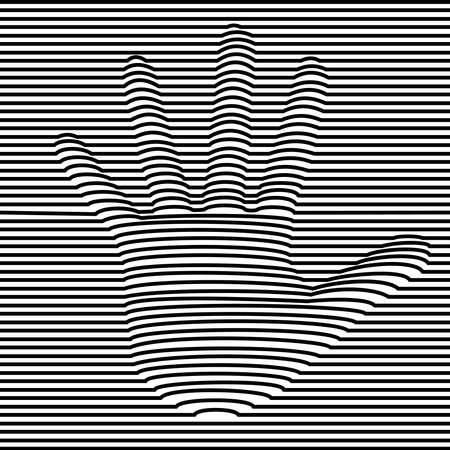 Ilustración de ilusión óptica de mano humana en blanco y negro. Diseño abstracto de efecto de volumen 3d. vector. Ilustración de vector