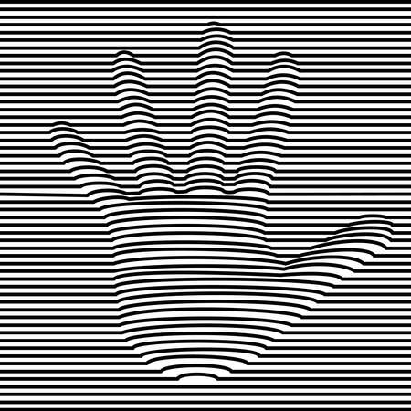 Human hand optic illusion illustration in black and white. 3d volume effect abstract design. vector.