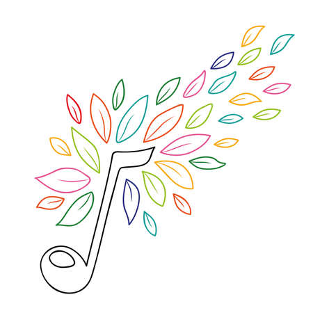 Music note with colorful tree leaves in outline style, concept illustration of musical symbol and nature decoration. vector.