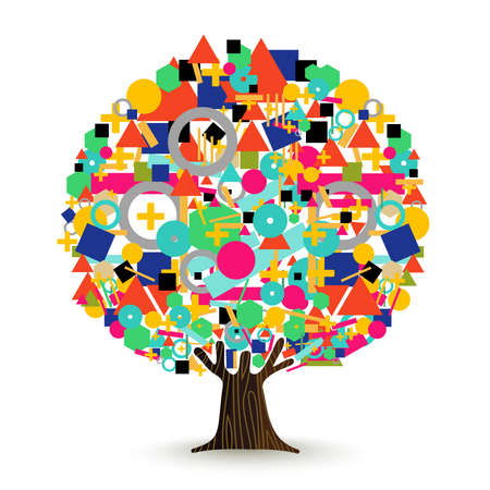 Tree made of colorful abstract shapes. Vibrant color geometric icons and symbols for conceptual idea.  vector.