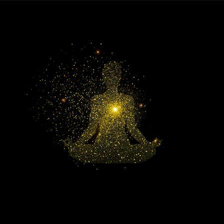 Illustrazione della siluetta di posa del loto di yoga. Icona di meditazione ragazza d'oro fatta di polvere di scintillio dorato realistico su sfondo nero. vettore.