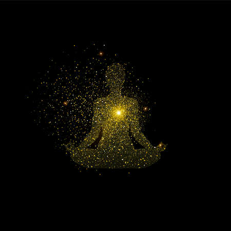 Yoga lotus pose illustration de silhouette. Icône de méditation fille or faite de poussière de paillettes dorées réalistes sur fond noir. vecteur.