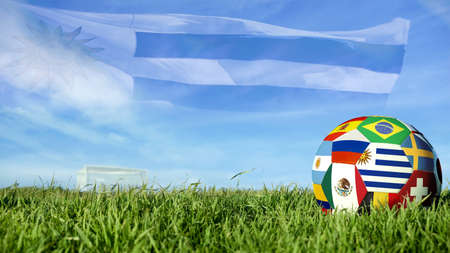 Soccer ball with Uruguay flag for Russian sport event, Uruguayan team celebration. Realistic football on goal post field over blue sky background. Includes mexico, russia and brazil flags.