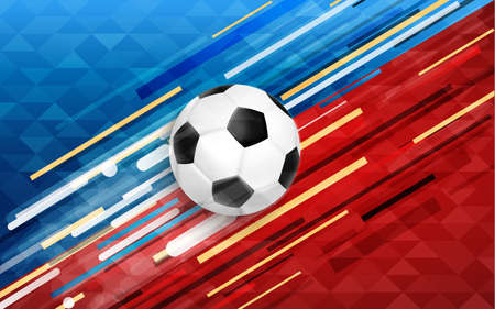 Soccer event illustration, web banner design of football ball with festive color background. EPS10 vector.