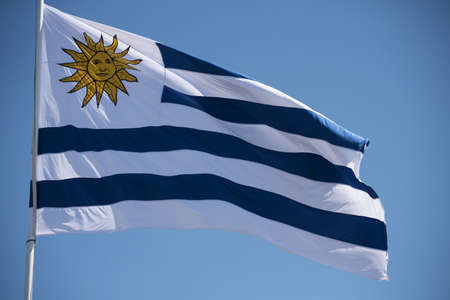 Uruguay country flag waving in the wind on blue sky background. National south american uruguayan emblem. Фото со стока