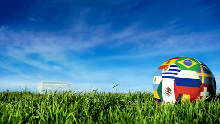 Soccer ball with international country flag of russian sport event groups. Realistic football on goal post field over blue sky background. Includes russia, argentina, mexico and more.