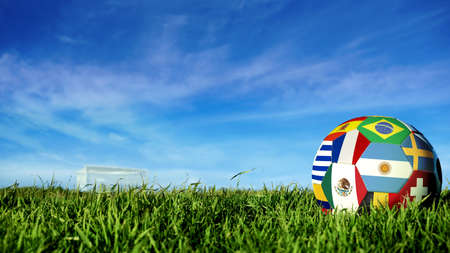 Soccer ball with international country flag of russian sport event groups. Realistic football on goal post field over blue sky background. Includes argentina, france, mexico and more.