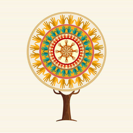 Yoga tree concept illustration. Woman meditating in relaxing pose with human hands mandala. vector.