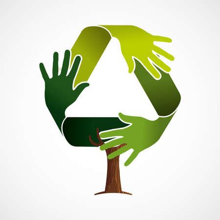 Albero fatto di mani umane verdi nel simbolo di riciclo. Concetto di aiuto della natura, gruppo dell'ambiente o lavoro di squadra per la cura della terra. vettore.