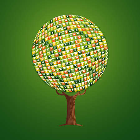Tree made of eco friendly mobile app icons, internet concept for environment help or nature care project. vector.