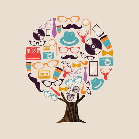 Hipster fashion tree made of retro style icons. Vintage culture concept includes deer, glasses, photgraphy camera and mustache.  vector. Stock Illustratie