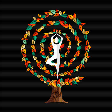 Yoga concept illustration. Woman meditating in tree pose with autumn decoration doing relaxation exercise. vector.