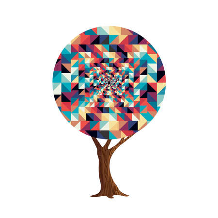Tree made of colorful abstract shapes. Retro color geometric symbols for fun conceptual idea. vector. Illustration