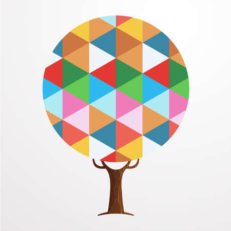 Tree made of colorful abstract shapes. Vibrant color geometric texture for fun conceptual idea. vector.