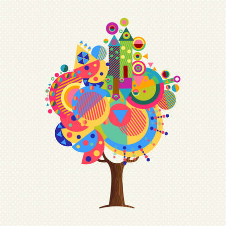 Tree made of colorful abstract shapes. Vibrant color geometric icons and symbols for fun conceptual idea. vector. Illustration