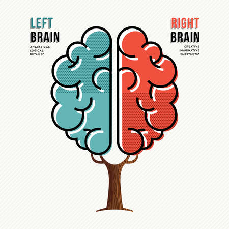Concept illustration of human brain hemispheres with information about left and right brains in modern flat line art style. vector. Vettoriali