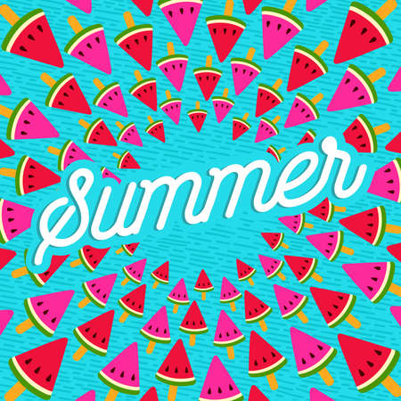 Happy summer greeting card design with tropical watermelon ice cream and typography quote.  vector.