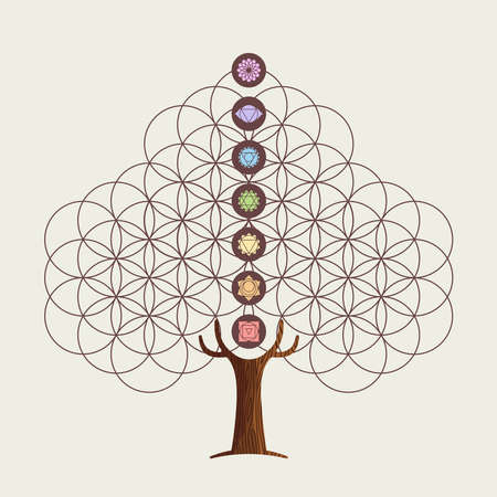 Yoga tree concept illustration. Flower of life with chakra decoration for relaxation and meditation. vector.  イラスト・ベクター素材
