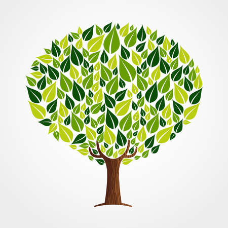Tree made of green leaves with branches and roots. Nature concept, Environment help or earth care. vector.