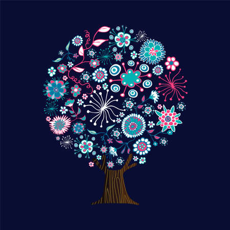 Floral tree made of pink flower icons in hand drawn style. Spring concept with nature decoration doodles. vector. Ilustração