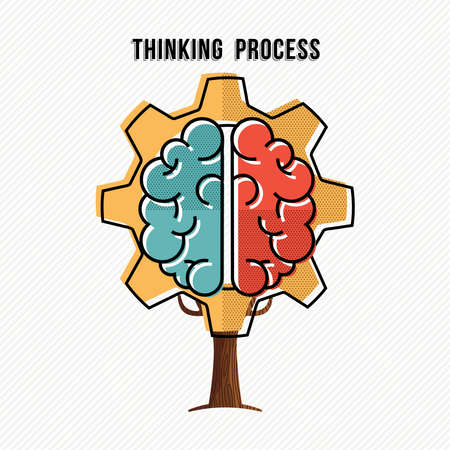 Thinking process concept illustration with human brain and gear wheel design, development of ideas in business.vector.