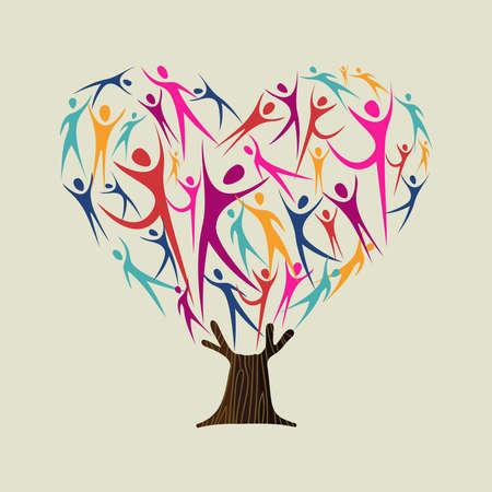 Hartvorm boom gemaakt van kleurrijke mensen silhouetten. Communautair hulpconcept, diverse cultuurgroep of sociaal project. vector.