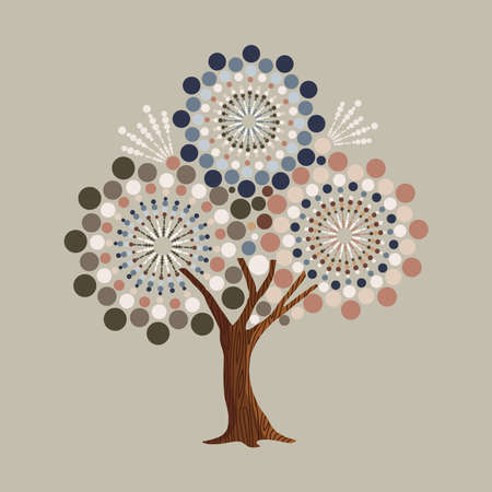 Tree made of abstract circle shapes. Vintage color geometric texture for fun conceptual idea. vector.