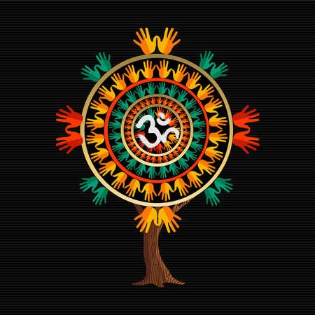 Ilustración de concepto de árbol de yoga. Símbolo de caligrafía tradicional Om, decoración de estilo de arte de pincel. vector. Ilustración de vector