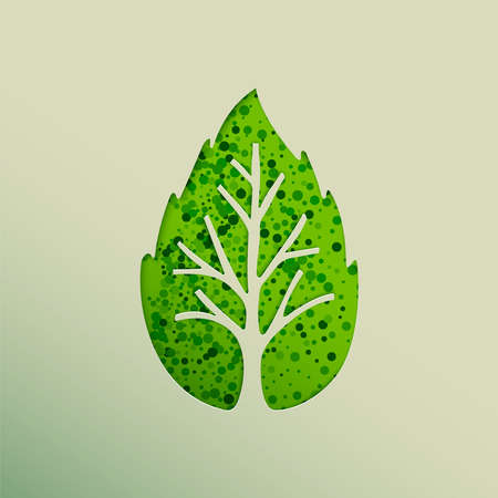 Tree made of green leaf in paper cut out style. Nature concept, Environment help or earth care.  vector. Stock Illustratie