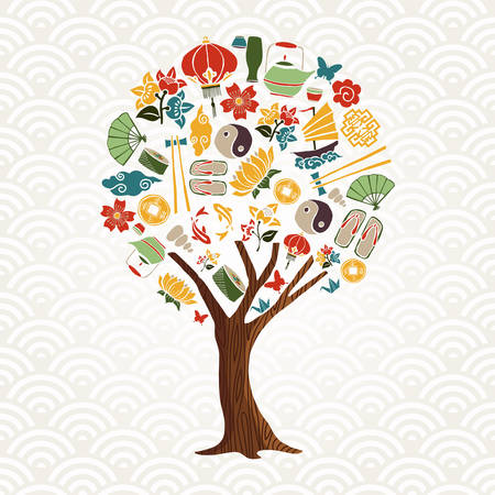 Asian culture tree concept illustration. Traditional chinese icon set with lotus flower, koi fish, ying yang symbol and more. vector.