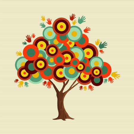 Tree made of colorful abstract shapes. Vintage color geometric texture for fun conceptual idea.  vector.