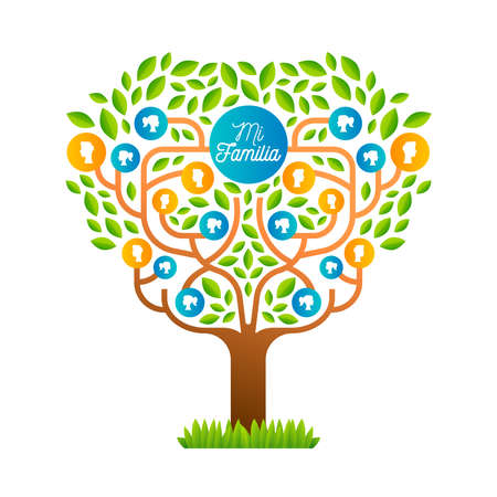 Big family tree template in spanish language, illustration concept with people icons and colorful green leaves for life generations history.vector. Vectores