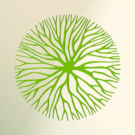 Tree top view made in green paper cut out style. Nature concept, Environment help or earth care. vector.