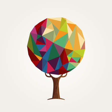 Tree made of colorful abstract shapes. Vibrant color geometric texture for fun conceptual idea.  vector. Illustration