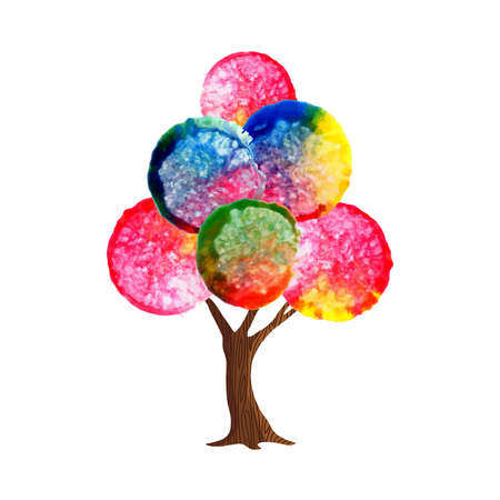 Tree with colorful abstract watercolor leaves. Traditional hand drawn paint decoration. vector.