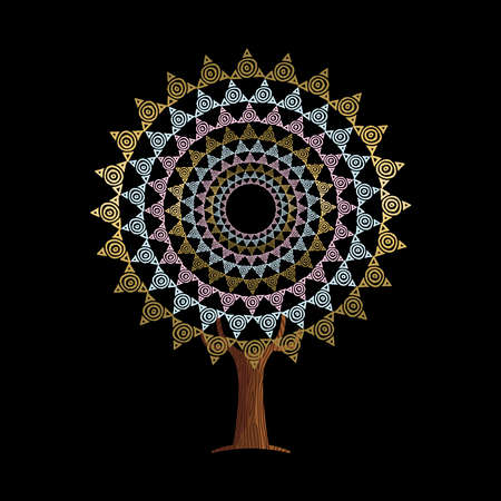 Tree with boho style mandala art in gold color, indian inspired illustration. Abstract handmade tribal decoration.  vector.