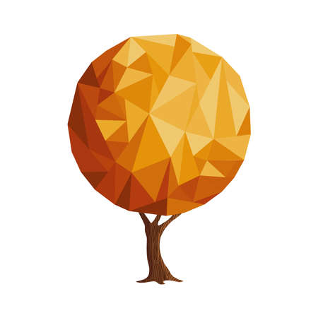 Tree made of gold abstract shapes. Golden color geometric texture for luxury conceptual idea.  vector. Illustration
