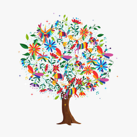 Floral tree made of colorful flower and animal icons in traditional mexican otomi art style. Springtime concept with daisy, deer, birds. vector.