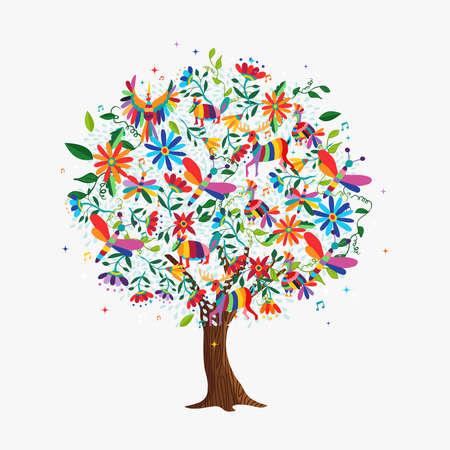 Kwiatowe drzewo wykonane z kolorowych ikon kwiatów i zwierząt w tradycyjnym meksykańskim stylu sztuki otomi. Koncepcja wiosna z daisy, jelenie, ptaki. wektor.