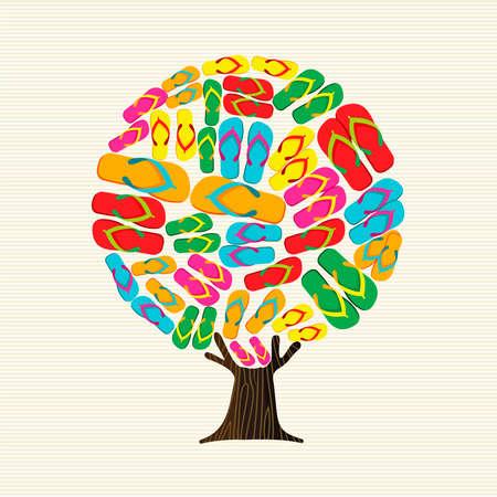 Summer season tree made of beach flip flops, fun summertime vacation concept. Colorful illustration for seasonal holiday. vector. Illustration