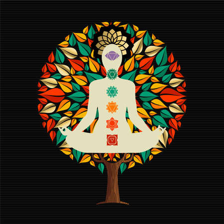 Yoga tree concept illustration. Woman meditating in lotus pose with chakra decoration doing relaxation exercise.  vector.