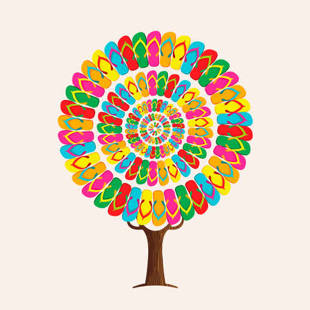 Tree made of colorful summer footwear for fun beach holiday concept. Vibrant color flip flop decoration, summertime vacation illustration.  vector.