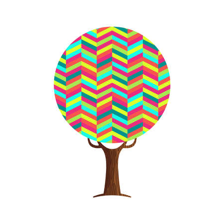 Tree made of colorful abstract shapes. Vibrant color geometric symbols for fun conceptual idea. vector.