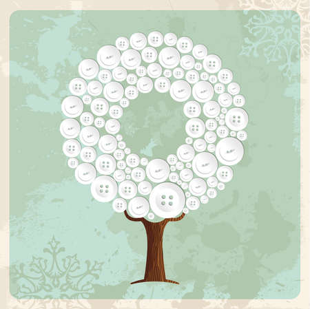 Tree made of vintage clothing buttons. Fashion concept illustration on retro textur background. vector. Illustration